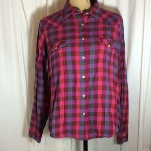 Wrangler Western Style Plaid Shirt Pearl Snaps XL
